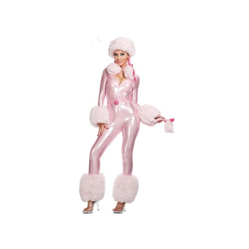 Fantasia Feminina Poodle Rosa Festa Halloween