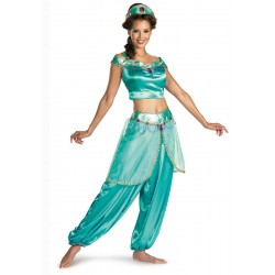 Fantasia Feminina Princesa Jasmine Aladin Festa Halloween