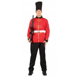Fantasia Masculina Guarda Real Uniforme Vermelho Festa Halloween