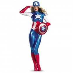 Fantasia Feminina Capitão América Heróis Marvel Festa Halloween