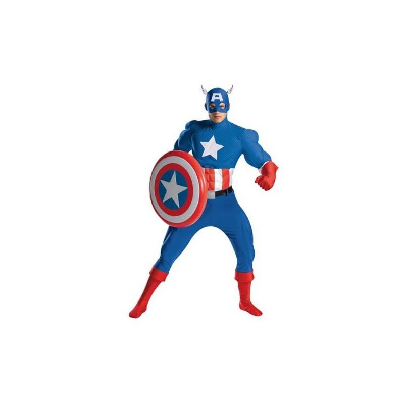 Fantasia Masculina Capitão América Heróis Marvel Festa