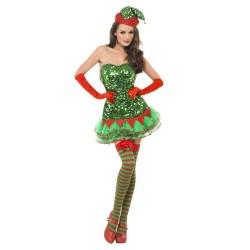 Fantasia Feminina Elfo Ajudante do Papai Noel