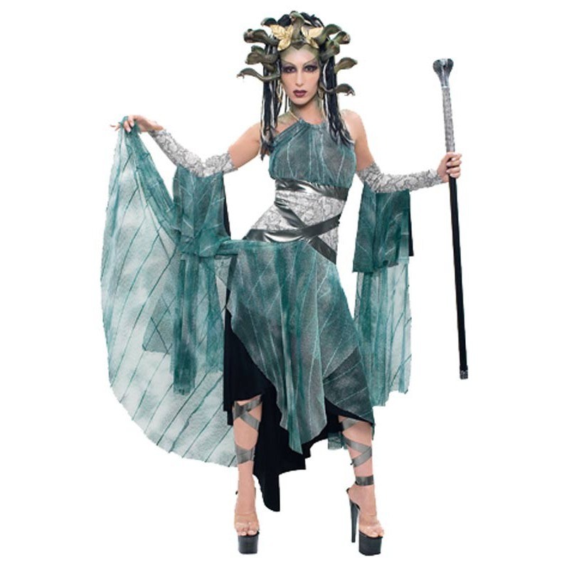 Fantasia Feminina Medusa Rainha das Cobras Traje para Festa a Fantasia