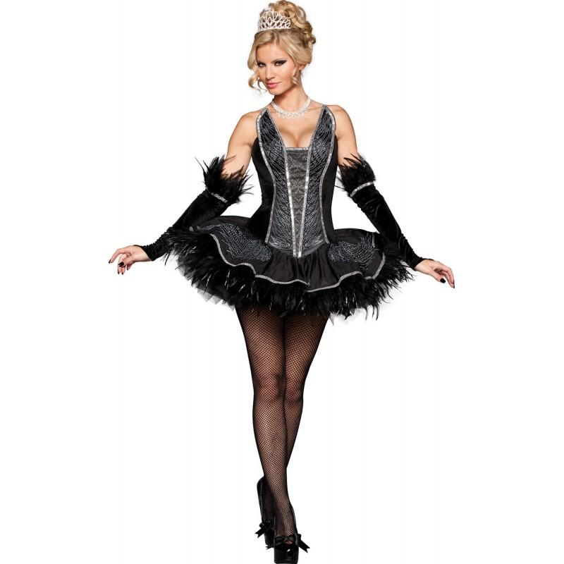 Fantasia Feminina Bailarina Cisne Negro Luxo Traje para Festa a Fantasia