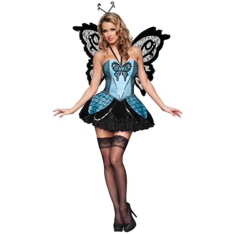 Fantasia Feminina Borboleta Azul Sexy Traje para Festa a Fantasia