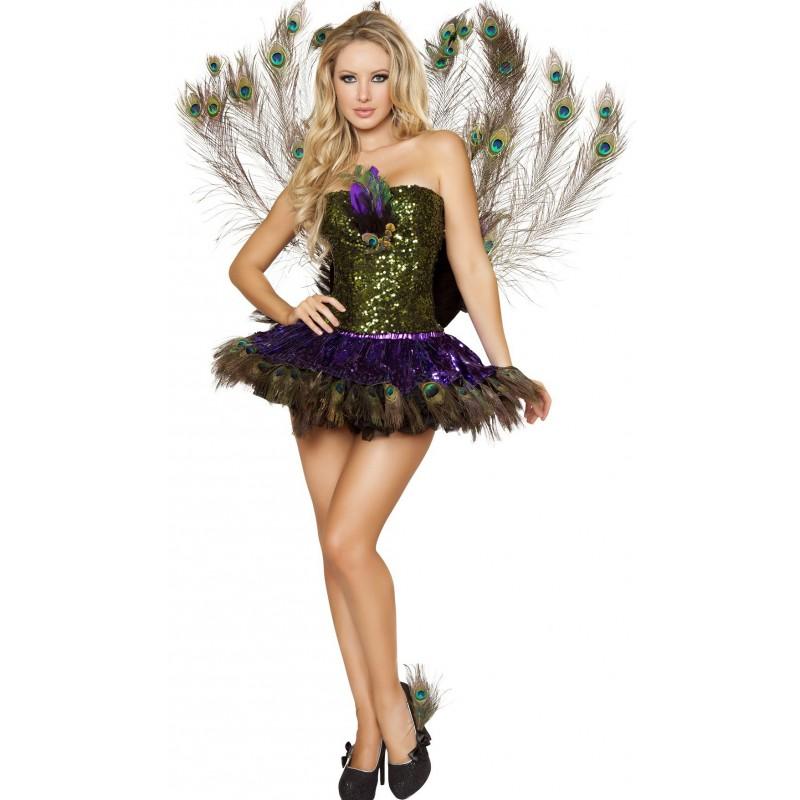 Fantasia Feminino Pavão Pavoa Luxo Traje para Festa a Fantasia Halloween