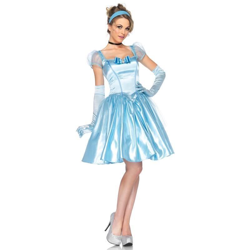 Fantasia Feminina Cinderela Disney Traje Curto para Festa a Fantasia