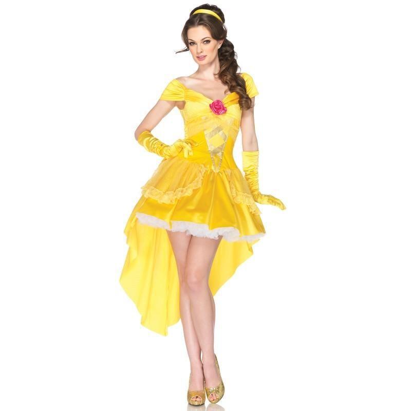 Fantasia Feminina Princesa Bela de A Bela e a Fera Disney Traje Curto para Festa