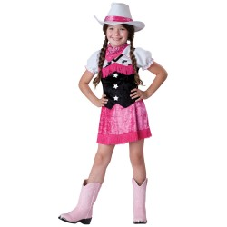 Fantasia Infantil Vaqueira Cowgirl Rosa Traje para Festa a Fantasia