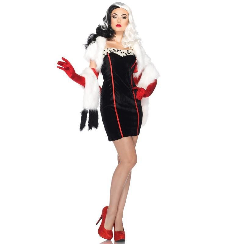 Fantasia Feminina Cruella Devil 101 Dálmatas Disney Traje para Festa a Fantasia