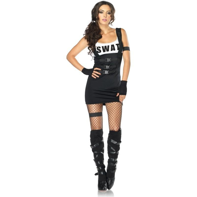 Fantasia Feminina Policial Swat Sexy Traje para Festa a Fantasia