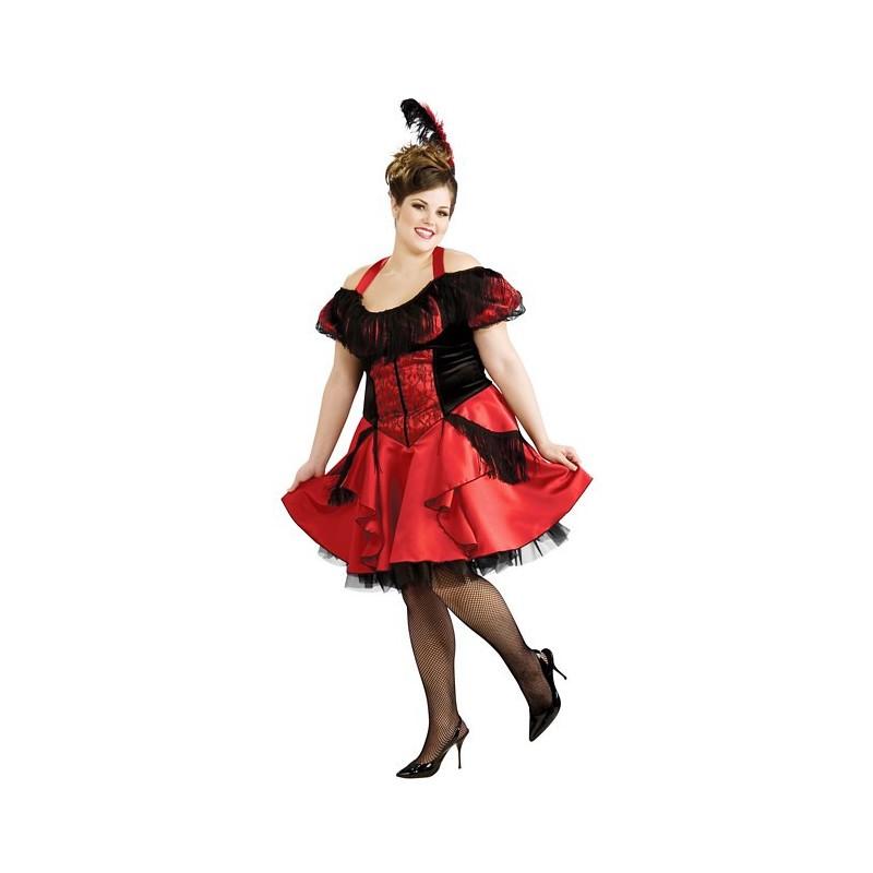 Dançarina Burlesca Cabaret Moulin Rouge Plus Size Traje Feminino Adulto para Festa a Fantasia Halloween