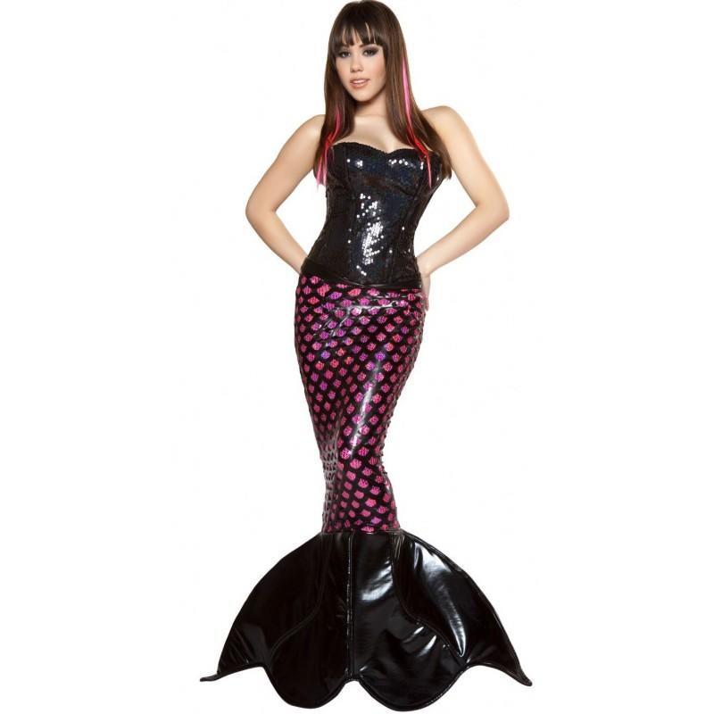 Sereia Negra Traje Feminino Adulto para Festa a Fantasia Halloween