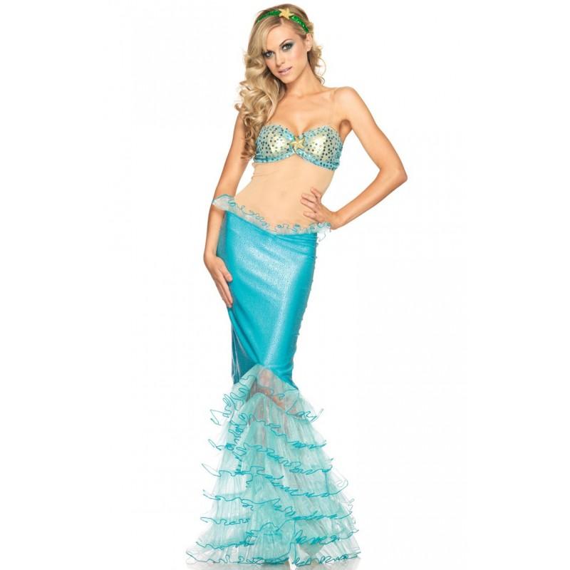 Sereia Azul Traje Feminino Adulto para Festa a Fantasia Halloween