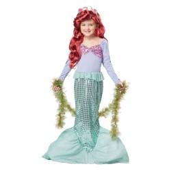 Fantasia Infantil Pequena Sereia Ariel Disney Traje para Festa a Fantasia