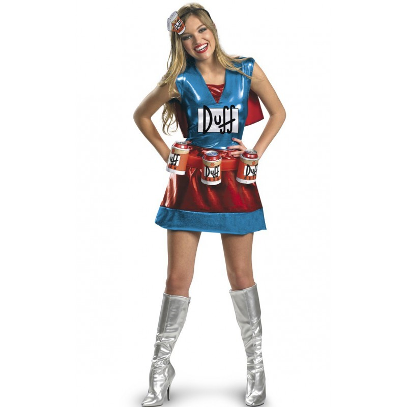 Duff Girl Os Simpsons Traje Feminino para Festa a Fantasia Halloween