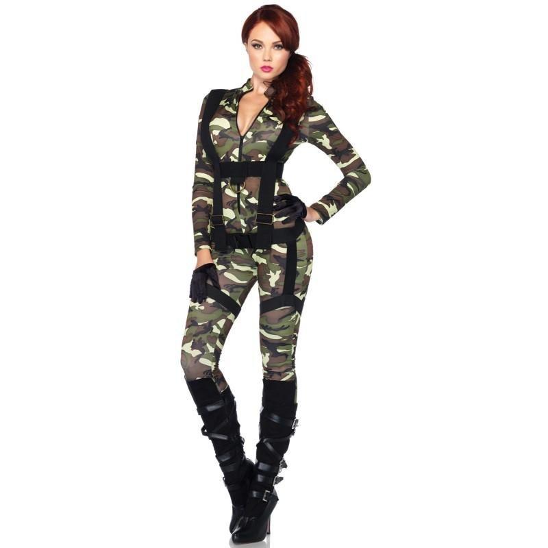 Militar Paraquedista Traje Feminino para Festa a Fantasia Halloween Cosplay
