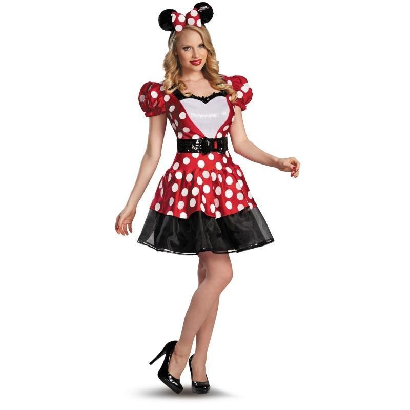 Minnie Traje Feminino Adulto para Festa a Fantasia Halloween Cosplay