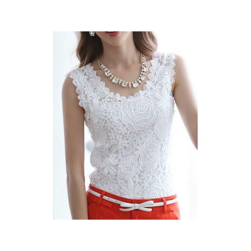 8691ad3e18 Blusa Regata com Renda Branca