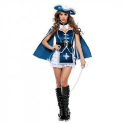 Mosqueteira Traje Feminino Adulto para Festa a Fantasia Halloween Cosplay