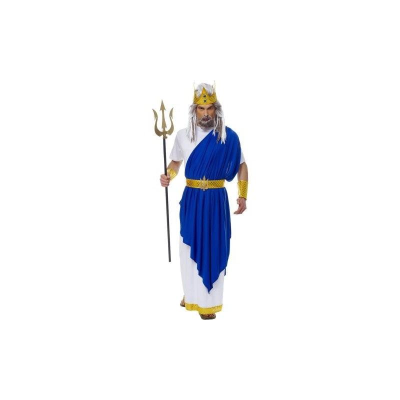 Netuno Rei do Mar Traje Masculino Adulto para Festa a Fantasia Halloween
