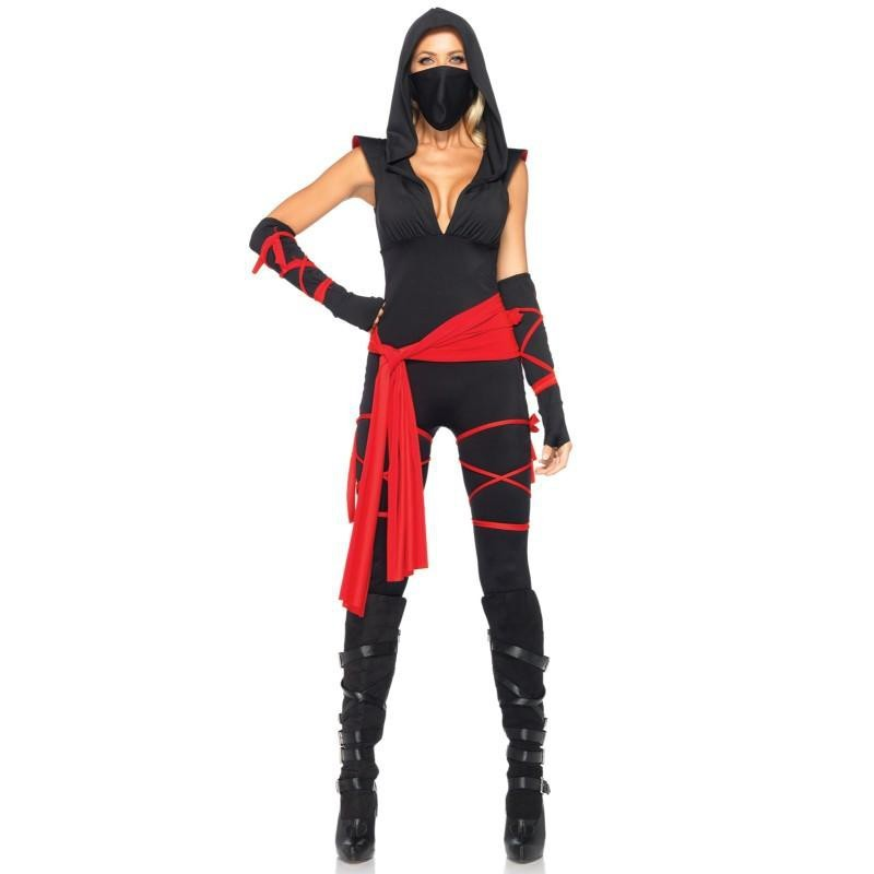 Ninja Traje Feminino Adulto para Festa a Fantasia Halloween Cosplay
