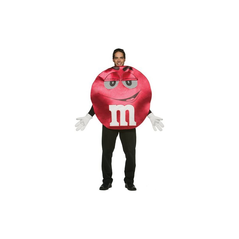 M&M Vermelho Traje Adulto Unissex para Festa a Fantasia Halloween