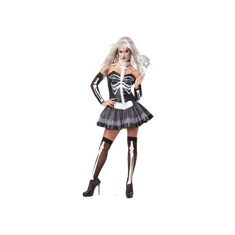 Esqueleto Sexy Feminino Festa a Fantasia Halloween Carnaval
