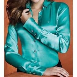 Blusa Camisa Manga Longa Cetim Seda Verde