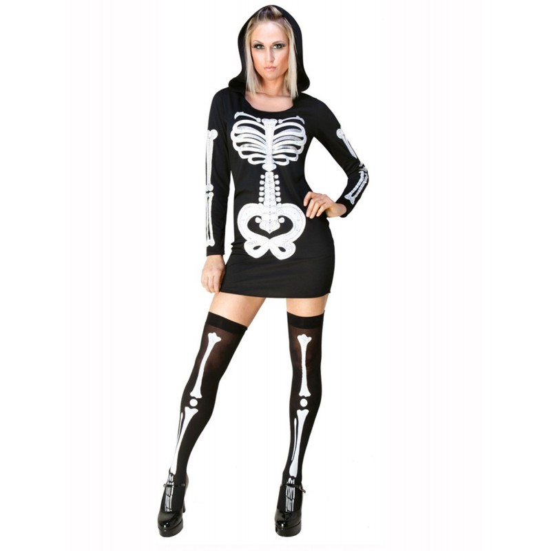 Esqueleto Traje Feminino para Festa a Fantasia Halloween