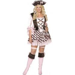 Pirata Cor de Rosa Traje Feminino para Festa a Fantasia Halloween