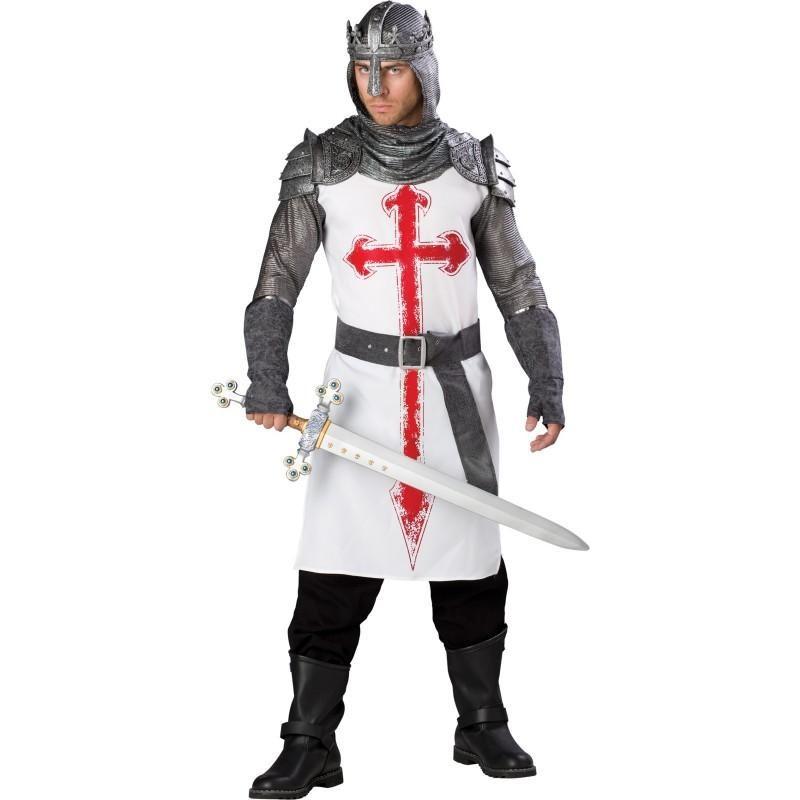Guerreiro das Cruzadas Luxo Fantasia Masculina Halloween Cosplay