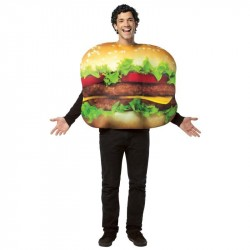 Cheeseburger Fantasia Adulto Halloween Carnaval Festa a Fantasia