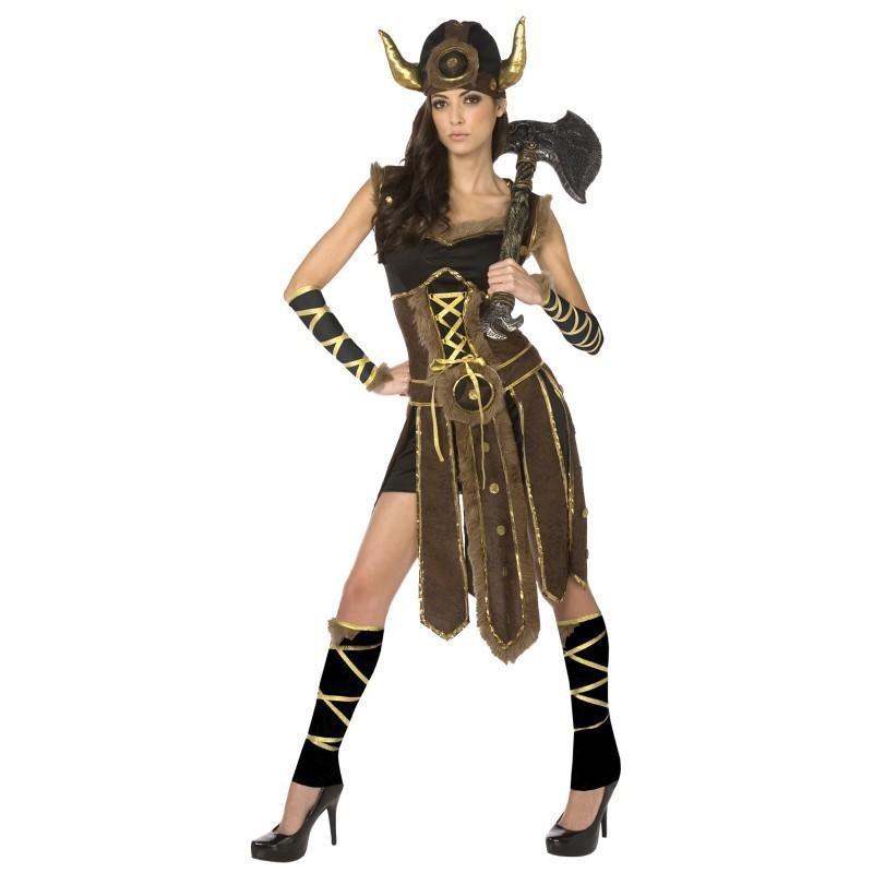 Guerreira Viking Fantasia Feminina Halloween Carnaval Festa a Fantasia