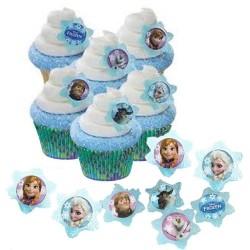 Enfeites para Cupcake Frozen para Decoração de Festa de Aniversário Infantil 24un