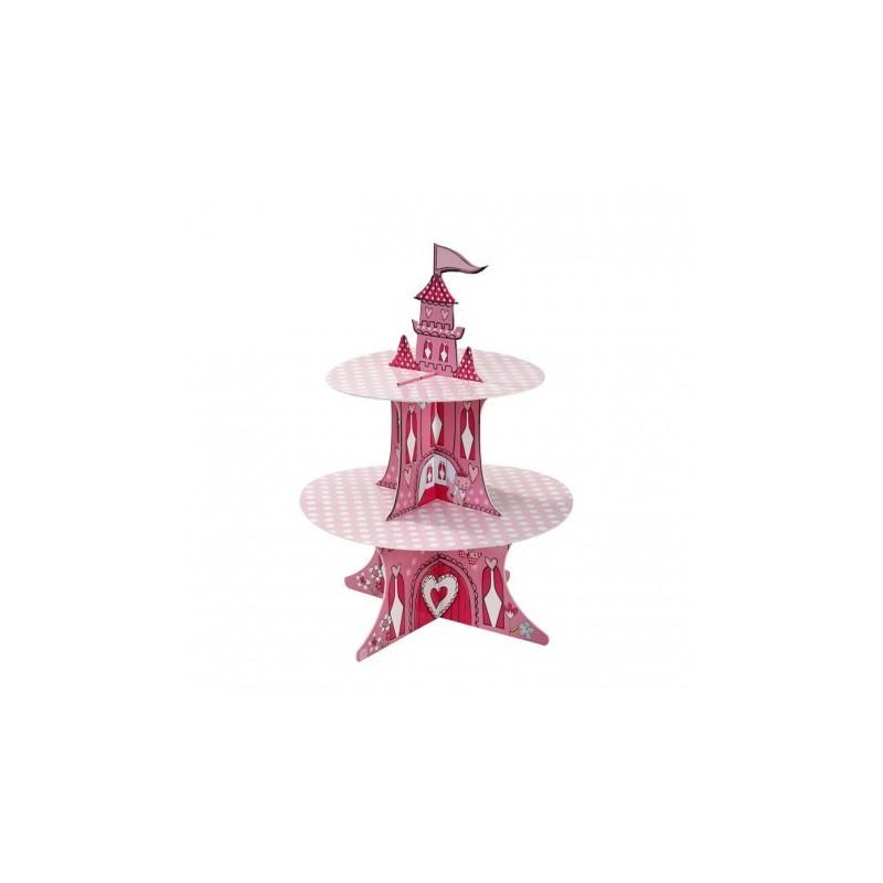 Bandeja Suporte para Cupcake Castelo Rosa Festa Infantil Chá de Bebê