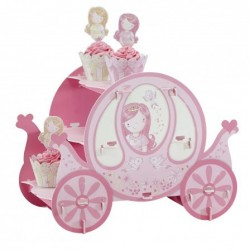 Suporte para Cupcake Carroagem Rosa Decoração Festa de Aniversário