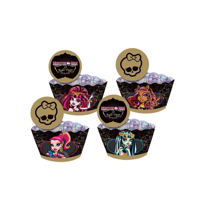 Forminhas e Plaquinhas para Cupcake Monster High Decoração Festa Infantil 24un