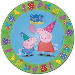 Pratinho Descartável Peppa Pig 12un para Festa Infantil