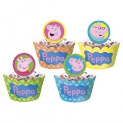 Wrapper Forminha e Plaquinha Peppa Pig para Cupcake 12un Festa Infantil