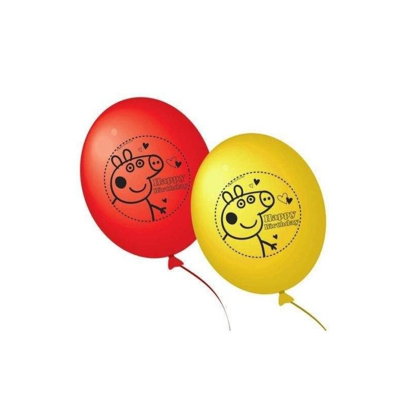 Bexigas Balões Peppa Pig Amarelo e Vermelho Festa Infantil 25un