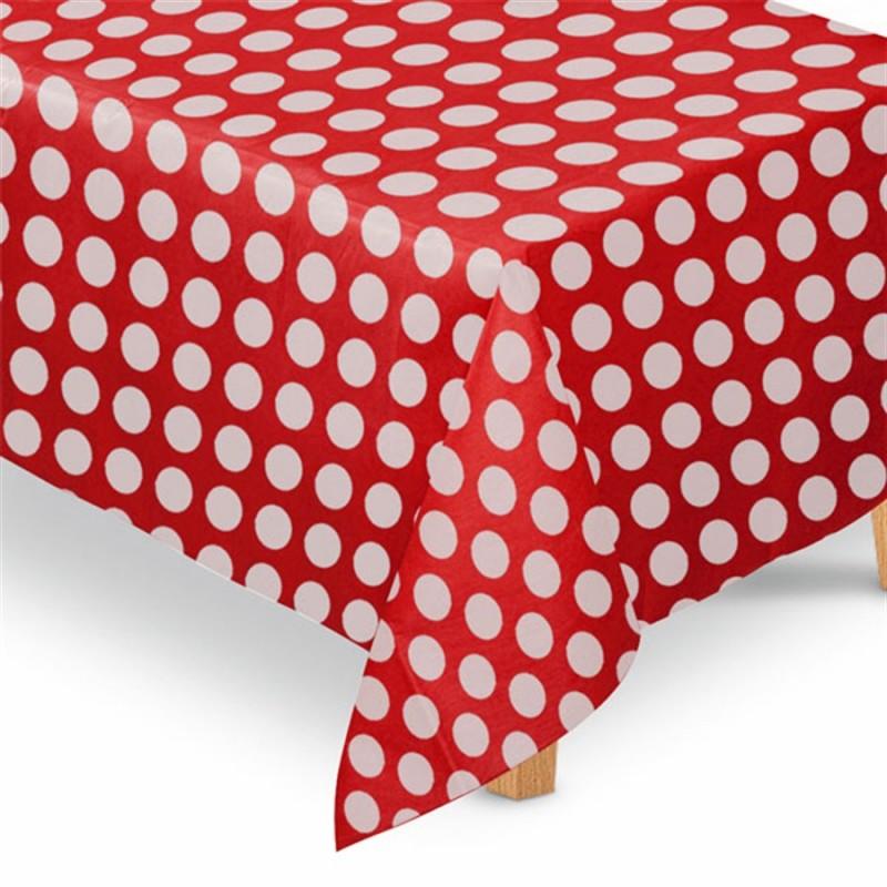 Toalha de Mesa TNT Poá Vermelho e Branco Decoração Chá