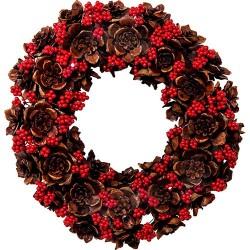 Guirlanda de Natal Flores em Madeira Detalhes em Vermelho