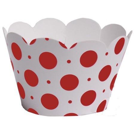 Wrapper para Cupcake Branco e Vermelho Chá de Cozinha Festa 12un