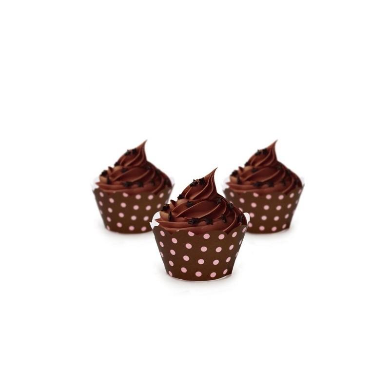 Wrapper para Cupcake Poá Marrom e Rosa Festa Infantil ou Chá 12un