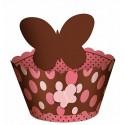 Wrapper para Cupcake Poá Marrom e Rosa Plaquinha de Borboleta 12un