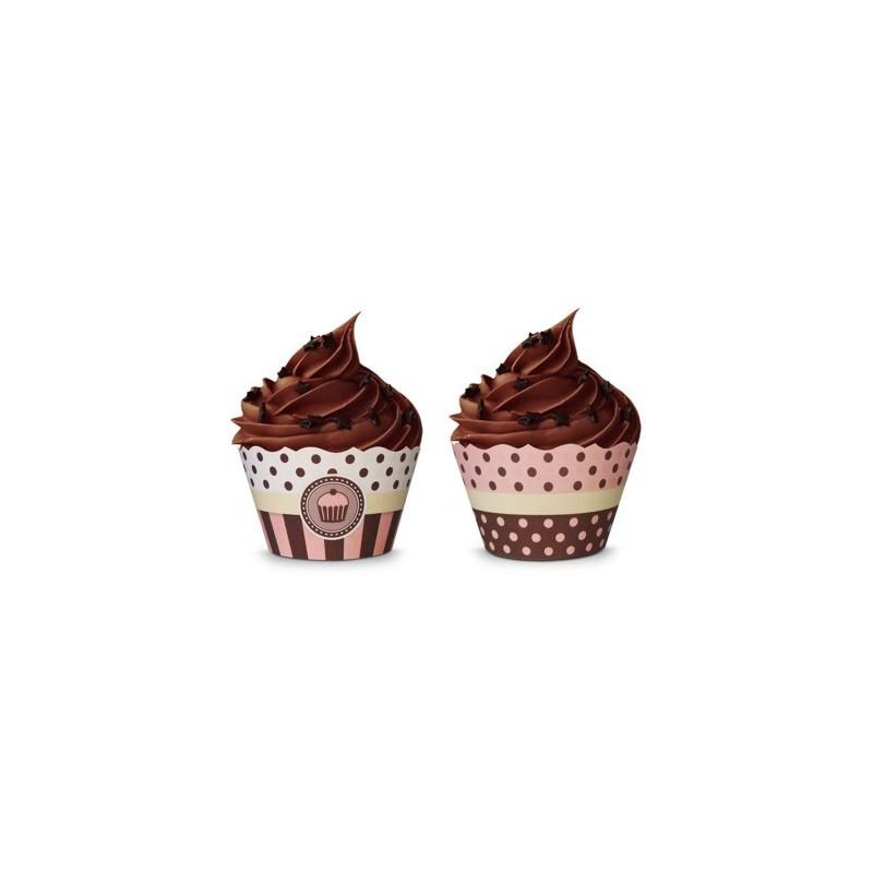 Wrapper para Cupcake Poá Rosa e Marrom Festa Infantil ou Chá 12un