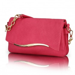 Bolsa Feminina Baguete Rosa Pink com Alça de Corrente Dourada