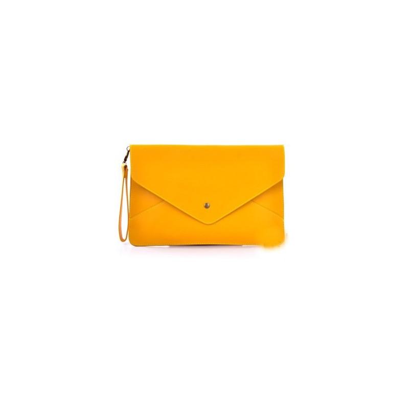 Bolsa Envelope Feminina Amarela de Mão