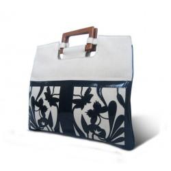 Bolsa Feminina Azul e Branco com Alça em Madeira